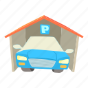 auto, automobile, car, cartoon, garage, home, transportation icon