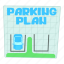 area, car, cartoon, park, parking plan, street, traffic icon