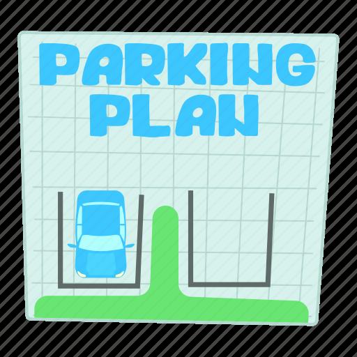 area, car, cartoon, park, parking plan, street, traffic icon