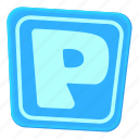 area, car, cartoon, park, parking sign, street, traffic icon