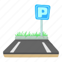 area, car, cartoon, park, parking, street, traffic icon