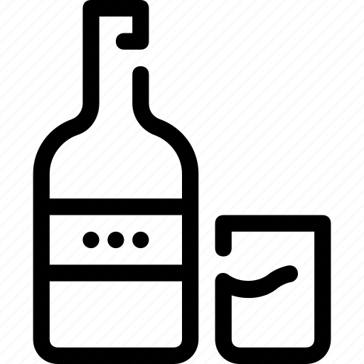 alcohol, bar, bottle, drink, glass, whisky icon