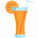 beverage, drink, fruit, glass, juice, of, orange icon