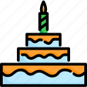 birthday, cake, celebration, dessert, food, party, sweet icon