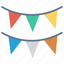 bunting, celebration, decoration, flags, party icon