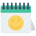 calendar, date, event, month, smiley icon