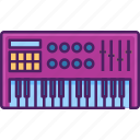piano, synthesizer, instrument, studio, keyboard, music, sound icon