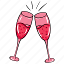 alcoholic beverage, alcoholic drink, celebration drink, champagne, cheers, wine glasses icon