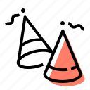 cones, party, caps, hats
