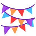 chain, flag, newyears, party icon