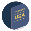 american, citizen, identity, passport, usa icon