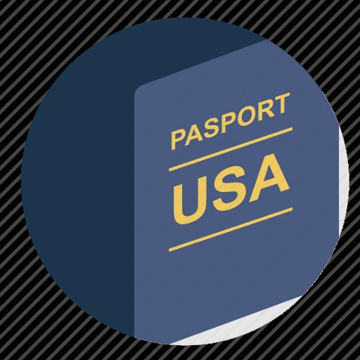 american, citizen, identity, passport, usa icon