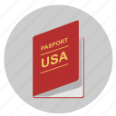 citizen, identity, passport, person, usa icon