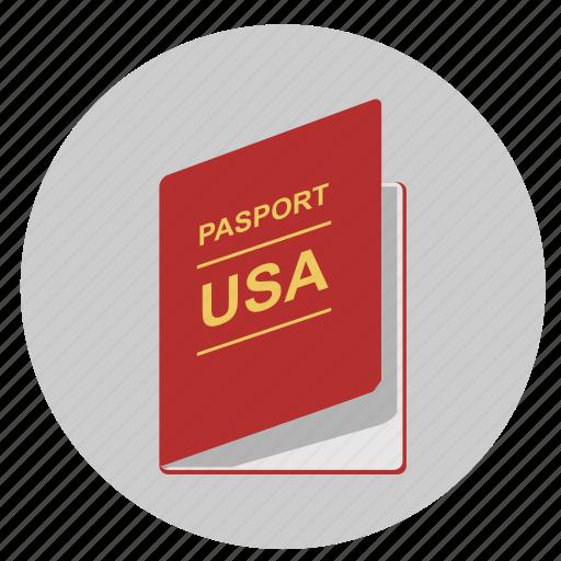 citizen, identity, passport, person, usa icon