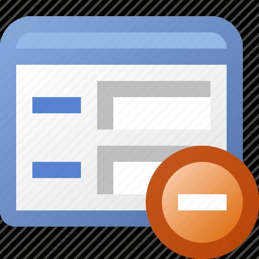 application, delete, form, window icon