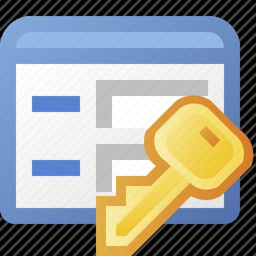 application, form, key, window icon