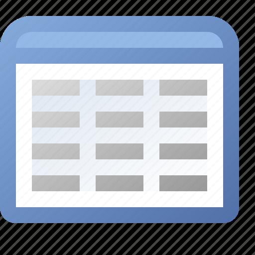 application, columns, grid, view, window icon