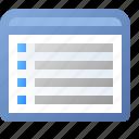 application, list, view, window