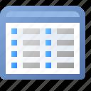 application, multicolumns, view, grid, window