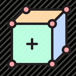 box, cube, edge, modelling, polygon, vertex, volume icon