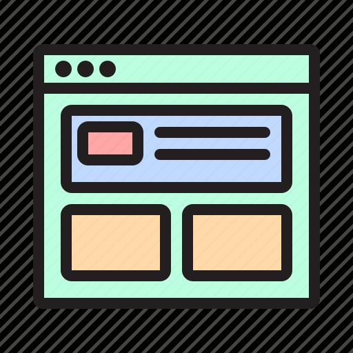 prototype, uidesign, uxdesign, web, webdesign, webpage, wireframe icon