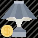 bedside, desk, furniture, household, lamp, lightbulb, table icon