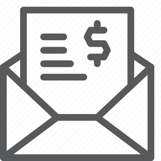 bill, envelope, mail, payment, purchase, receipt, sale, shopping icon