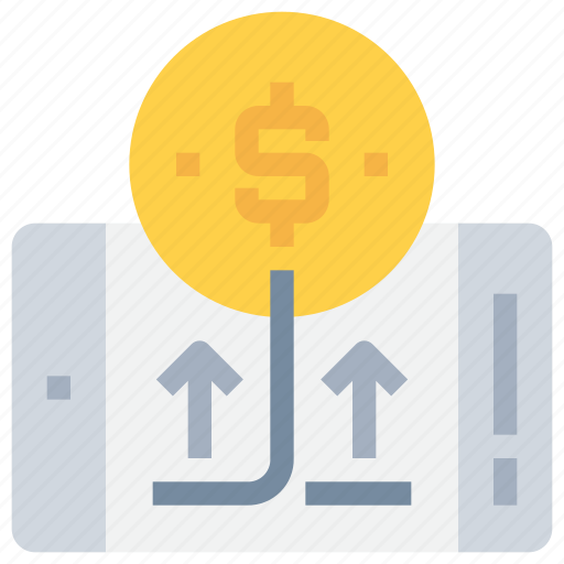 bank, coin, mobile, money, payment, smartphone icon