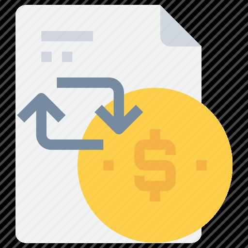 arrow, bank, document, money, payment icon