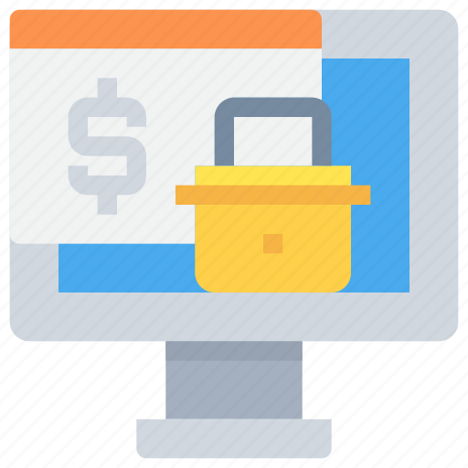 bank, computer, money, padlock, payment, secure, security icon