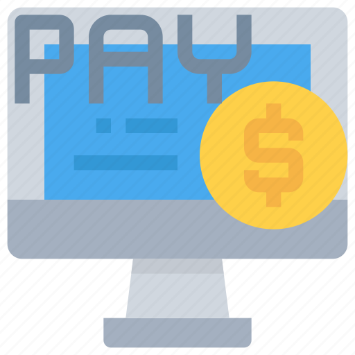 bank, computer, money, online, payment, shopping icon