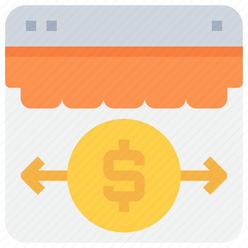 arrow, bank, browser, money, payment, website icon