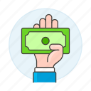 bank, cash, dollar, hand, note, pay, payment, traditional icon