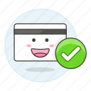 accepted, card, check, credit, payment, smiley, valid, verified icon