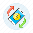 digital, money, payment, refund, smartphone icon