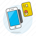 card, credit, debit, mobile, payment, phone, processing, reader icon