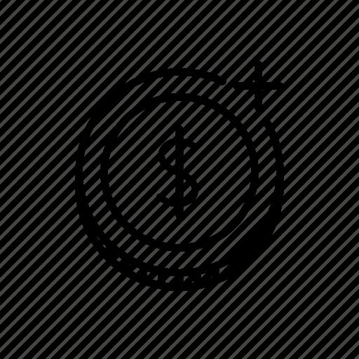 add, cash, coin, increase, plus icon