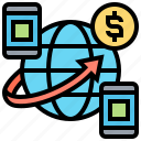 banking, transfer, online, sending, money icon