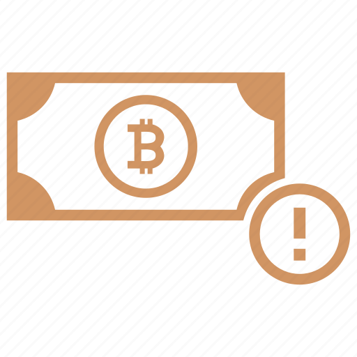 attention, bitcoin, money, value, warning icon