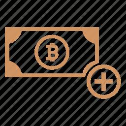 account, add, bitcoin, cash, income, money icon