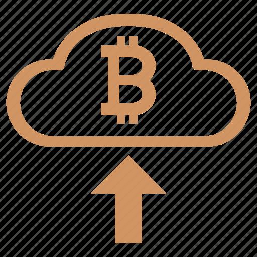 bitcoin, cloud, income, money icon