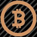 b, bitcoin, blockchain, circle, label, money, round icon