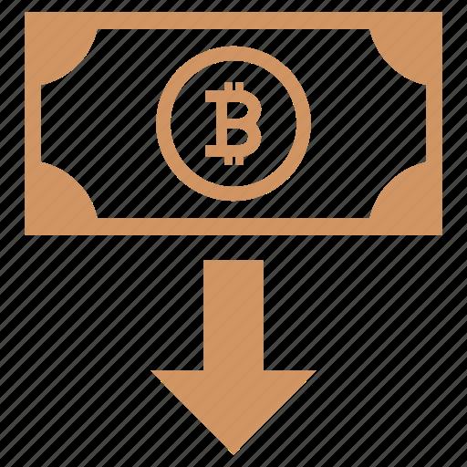 bitcoin, blockchain, cash, money, outcome, value icon