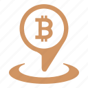 bitcoin, geo, location, money, place, pointer icon