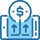 arrow, banking, business, mobile, money, payment, smartphone icon