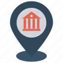 bank, location, map, pin, pointer icon