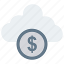 cash, cloud, dollar, money, server icon