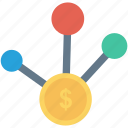 cash, connect, dollar, money, network icon