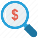 dollar, find, glass, magnifier, search icon