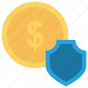 dollar, money, protect, secure, shield icon